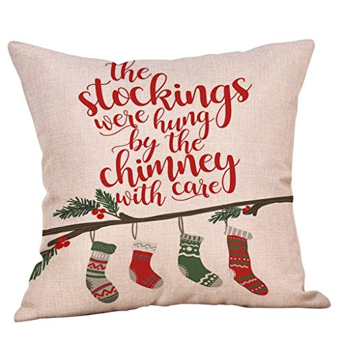 qiaoxiahe Zierkissenbezüge Kissenbezug Weihnachten Kissenbezug Frohe Weihnachten Wohnkultur Leinen Dekokissen Schneeflocke Rentier&Weihnachtsmann Muster Weihnachten Deko Kissenbezug 45x45cm
