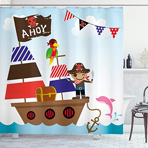 Ambesonne Ahoy Its a Boy Shower Curtain, Cute Pirate Kids Treasure Chest with Ship on Ocean Background Illustration, Fabric Bathroom Decor Set with Hooks, 70 Inches, Multicolor