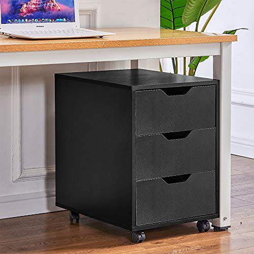 BonChoice Mobile File Cabinets Pedestal Office Wood Filing Cabinet with 3 Drawers, 4 Rolling Casters, Under Desk Storage Cabinet Fit for A4 Paper (Black Lock-free)