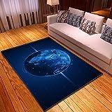 BVWSBGF Moderna Alfombra Universo Azul Espacio Tierra Suave Alfombras Ideal para Sala Comedór & Dormitorio Fácil de Limpiar Antideslizante 120x170cm
