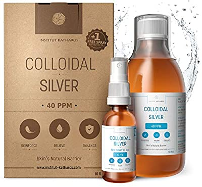Highest Purity Colloidal Silver 300mL ? 40 PPM ? Free Spray to Fill ? Superior Concentration, Smaller Particles, Better Results ? Certified by 3 Independent Laboratories ? Institut Katharos