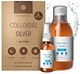 Argent Colloïdal 300 ml ● 40 PPM 100% Naturel ● Bouchon Doseur & Spray 30ml à Remplir ● Certifié Ecocert Cosmos Natural ● Made in France ● Nominé Meilleur Soin Naturel 2021 Top Santé ● Ebook Offert