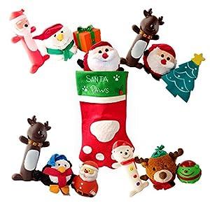 Pawsforcetm Deluxe Chaussette de Noël pour chien avec corde à mâcher, qui couine et jouets en peluche cadeaux