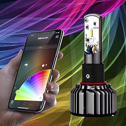 2nd Gen 2in1 LED Headlight Bulb Kit - XKchrome Smartphone App-Enabled Bluetooth RGB Devil Eye + LED Headlight Conversion -H7