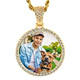 YIMERAIRE Custom Picture Pendant Necklaces with CZ Rhinestone Iced Out Hip Hop Gold Circle Memory Medallions Pendant Jewelry
