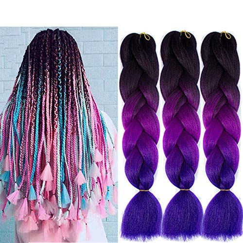 "Amexxys Omber Purple Braiding Hair Crochet Braids Hair Extension,24""Rainbow colored BOX Jumbo Braid Hair ,Twist Braiding Hair-5PCS/Lot,(black/purple/blue)"