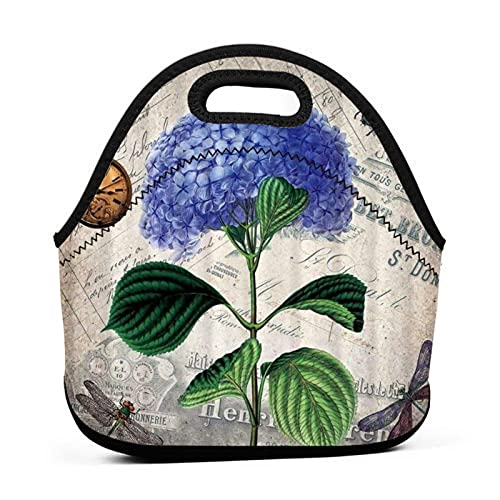 ADONINELP Bolsa de almuerzo portátil,bolsa de bento,flor morada,reloj de bolsillo,libélula,paquete de neopreno con cremallera para la escuela,trabajo,oficina,bolso de viaje