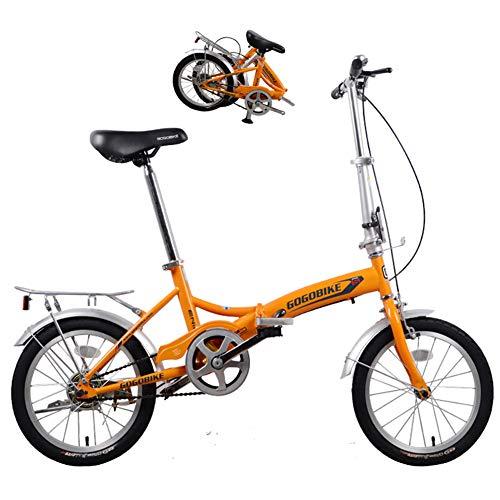 Qhxxtxjis Mini-Mädchen Klappräder Fahrrad,Kinder Pendler Single-Speed V-Brake Carbon Stahlrahmen Erwachsene Fahrrad, Leichte City Road Cycling Mit Anti-Skid-Reifen,Orange,16 inch