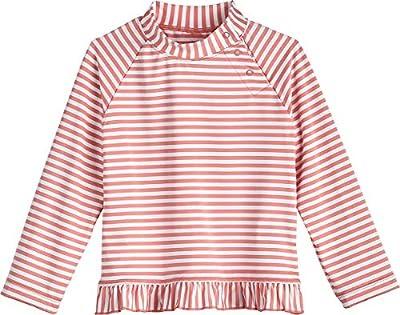 Coolibar UPF 50+ Baby Girls' Guppy Ruffle Swim Shirt - Sun Protective (2T- Seashell/White Stripe)