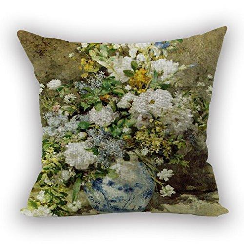 Nunubee Housse Coussin Coussin Decoration canapé Deco canapé scandinave Deco, Vase en Porcelaine Bleue et Blanche Fleurs Blanches 45x45CM