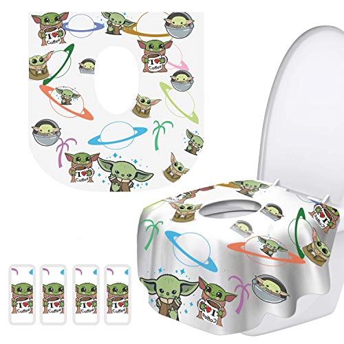 Toilet Seat Covers Disposable - 20 Pack - Easy to Carry-Portable with Non-Slip Adhesives-Waterproof, Perfect for Travel and on The go - for Adults, Toddlers, and Kids!