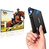 Pico Mini Projector, Rechargeable DLP Wireless WiFi Portable Projector Support Full HD 1080P and 3D for HDMI USB Auto Keystone Compatible with iPhone, Android, Laptop for Home Theater Outdoor Movies