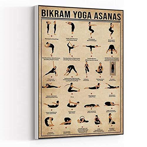 WALL FRAMES FOR LIVING ROOM ,teenage boy room decor ,flower wall art ,Yoga poster Bikram yoga asanas Yoga Prints Poster Vintage Posters8''x12'' Framed Modern Canvas Wall Art,