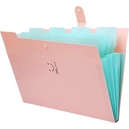 Trieur à Soufflets Classeur Rangement Papier Chemise Trieur Plastique A4 Documents Extensible Avec Fermeture à L'élastique, 5 Compartiments