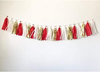 15pcs 14inch Tassel Garland Tassel Banner Red, White, and Gold Tassel Garland for Weddings, Baby Shower, Bridal Shower, Birthday, Graduation Party, Nursery Decoration