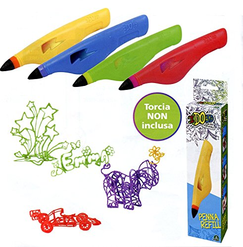RICARICA - RECAMBIOS - RECHARGE - PENNA I DO 3D - IDO3D Gioco Vertical Deluxe Design Studio, Set 1 Penna color giallo - 1 yellow - 3D REFILL