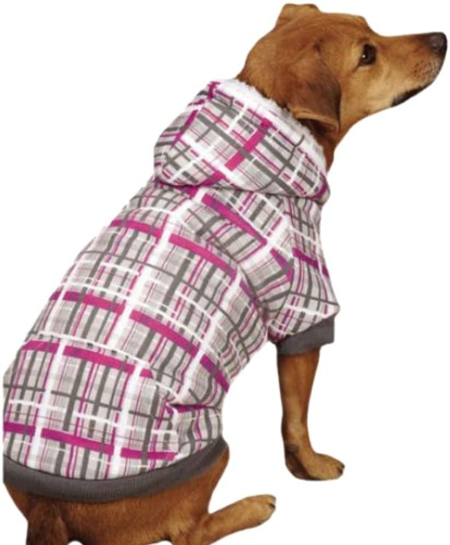 Casual Canine ZM68852411 XLarge 24Inch Length Rad Plaid Dog Hoodie, Grey Pink