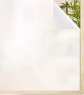 rabbitgoo Vinilo Ventana Privacidad, Vinilo para Cristales, Película Translucido Electricidad Estática Sin Pegamento Autoadesivo Laminas Anti-UV Blanco para Cocina, Oficina y Baño 90x200CM