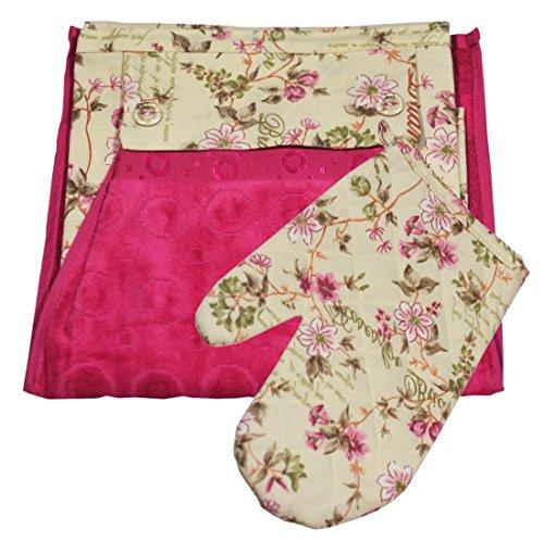 Küchenschürze 3tlg Küchenset Schürze Handtuch Topfhandschuh (06)