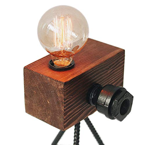 Looxury Real Wood Table Lamp Industrial Edison Bulb - Creative Camera Shape Unique Style - Vintage Decor Camera - Free Bulb Included