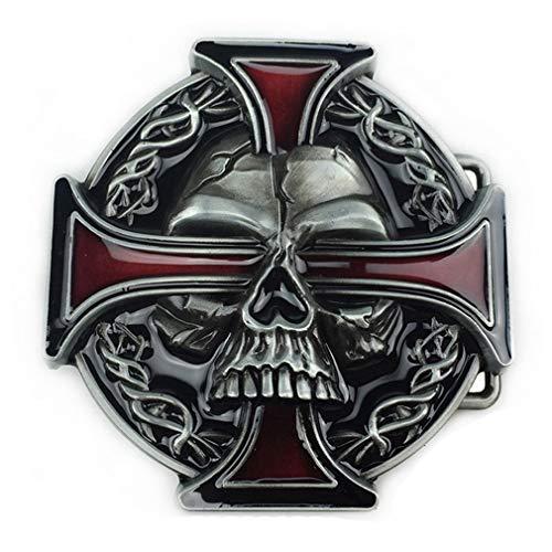 LKMY Mens Belt Buckle, Western Skull and Celtic Cross Biker Belt Buckle for Mens Womens Father