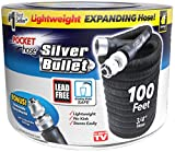 Pocket Hose Original Silver Bullet Water Hose by BulbHead - Expandable Garden Hose That Grows with Lead-Free Aluminum Connectors - Safe Drinking Water Hose (100 Feet)