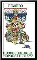 SJKL 刺繍クロスステッチキット、人気 図案印刷 クロスステッチ キット、犬とクリスマスの靴下、 初心者 11CT DIY 上級者 手作 刺しゅうキット-ホームの装飾 - 40x50cm