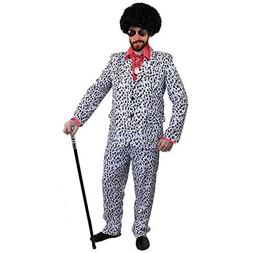 I LOVE FANCY DRESS LTD ZUHÄLTER/Pimp KOSTÜME VERKLEIDUNG 60iger 70s Jahre=Fasching Karneval Disco=ROTES SEIDIGES RÜSCHEN Hemd+PERÜCKE+Medallion+Dalmatiner Look Hosenanzug+AVAIATOR Brille=XXLarge