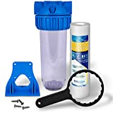 10 Inches Clear Standard Transparent Whole House Water Filter System with Presser Relief Button,...