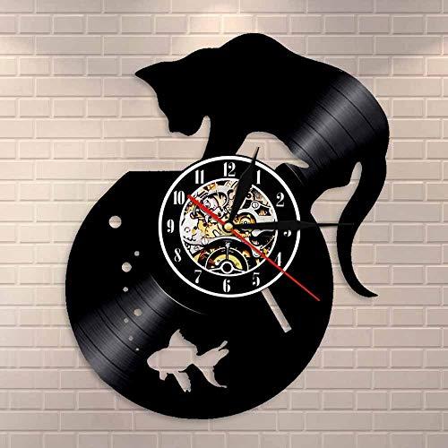 Adorable reloj de pared de vinilo con diseño de gato y pecera, reloj de pared de vinilo, color negro, hecho a mano, idea de regalo única
