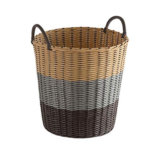 Large Rattan Laundry Hampers Large Capacity Laundry Baskets Household Bathroom Bedroom Clothes Laundry Bins,41 * 30 * 38CM (Color : Coffee gradient)