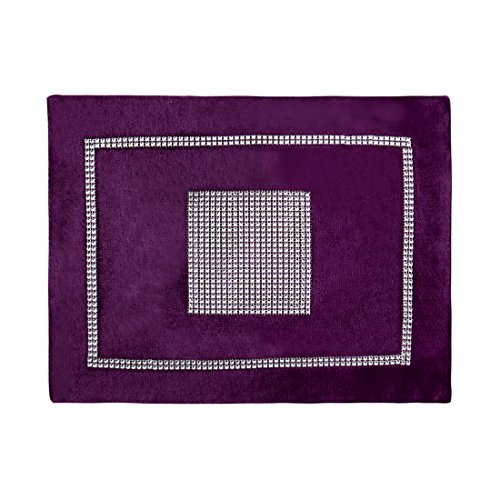 uxcell Placemats for Dining Table with Sparkle Luxury Diamante, Table Mat for Birthday Thanksgiving Wedding Party Decoration 12x16 Inches Purple