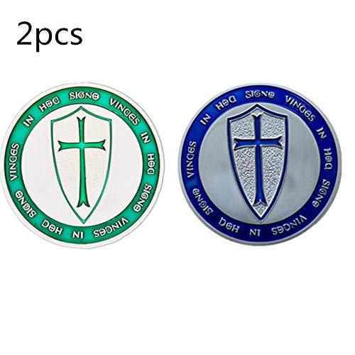 Moneda Conmemorativa del Caballero templario Europeo2 PiezasCruz Verde Azul colección de Escudo Sagrado RegaloMoneda de desafío deOroméxico-1
