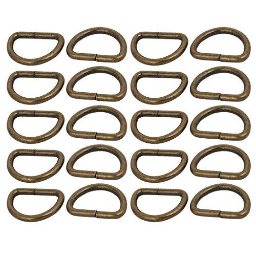 sourcing map 20Stk.D Ring geschweißte Bronze 20mm innere Breite Metall halb runde geformte