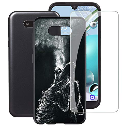 """HHUAN Phone case for LG K31 Rebel (5.70"""") with 1 Tempered Glass Screen Protector, Ultra-Thin Black Soft Silicone TPU Bumper Cover Shell, Full Protection Against Shock and Scratch - WMA28"""