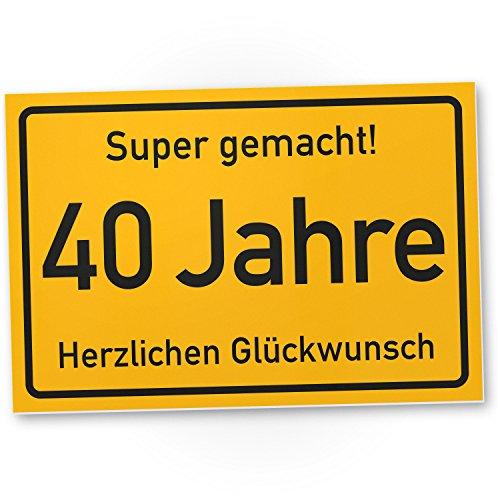 DankeDir! 40 Jahre Stadtschild/Kunststoff Schild - Geschenk 40. Geburtstag, Geschenkidee Geburtstagsgeschenk Vierzigsten, Geburtstagsdeko/Partydeko/Party Zubehör/Geburtstagskarte
