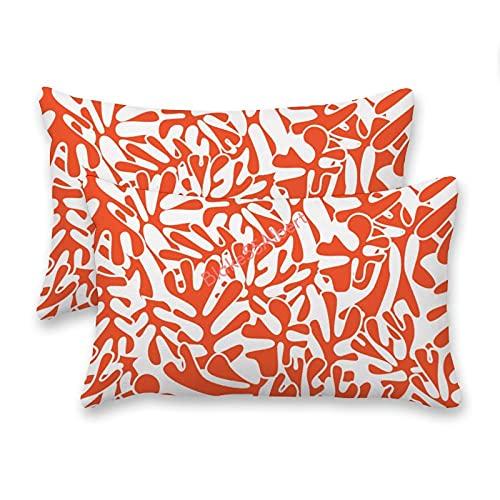 happygoluck1y Matisse - Juego de 2 fundas de cojín rectangulares de terciopelo coral, 30 x 50, para sofá, niñas y mujeres