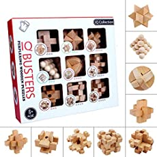 Brain Teasers for Kids, 9PCS IQ Wooden Puzzle Set, Assembly Disentanglement Puzzles for Adult