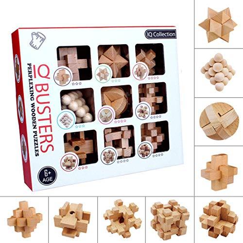 Searchyou Casse-Têtes - Lot de 9 - 3D Casse-tête Bois Puzzle IQ Cadeaux pour Enfants et Adultes