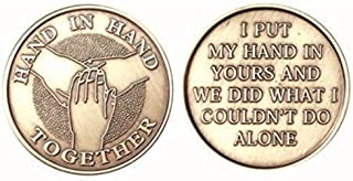 Hand In Hand Together Bulk Lot of 25 Medallions Chips Bronze I Put My Hand In Yours And Together We Did What I Could Not D...