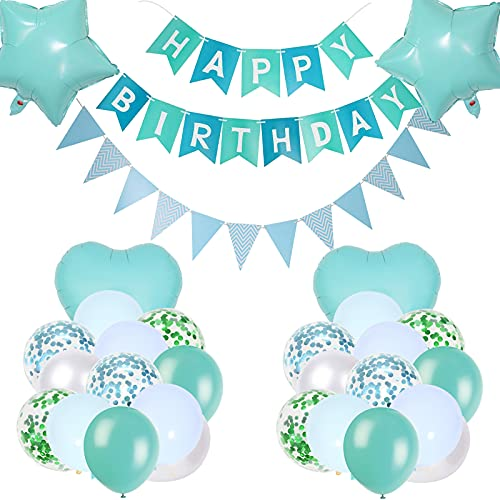 Blågrön födelsedagsfestdekorationer, grattis på födelsedagen banderoll blå grön flaggduk banderoll stjärna hjärta folie ballonger turkos blå konfetti latexballonger för pojke flicka födelsedagsfest