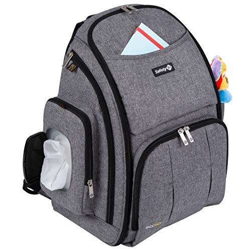 Safety 1st Wickelrucksack für unterwegs, Wickeltasche inklusive Feuchttuch-Box mit Schnellzugriff, Wickelauflage und 17 verschiedenen Staufächern, Grau