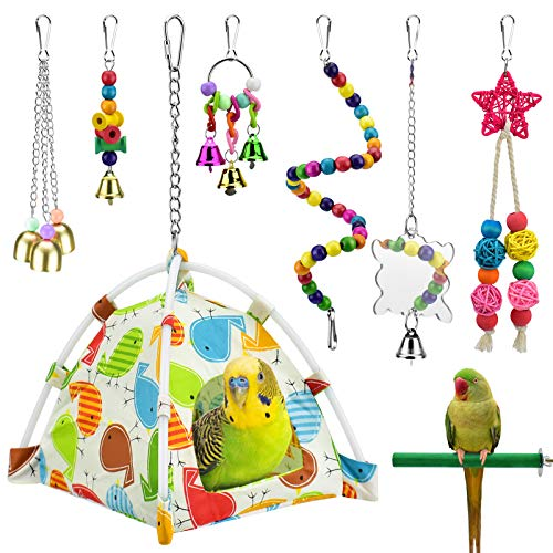 KATUMO Bird Parrot Toys, Bird Nest Hut Hanging Habitat Tent Colorful Wood Beads Hanging Mirror Bird Perch Chewing Bell Toys for Conures, Cockatiel, Budgerigar, Lovebird, Sparrow Ect Small Birds