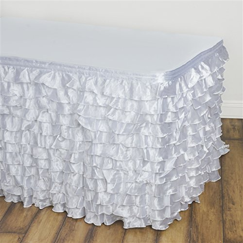 BalsaCircle 21 feet x 29-Inch White Satin Ruffled Banquet Table Skirt Linens Wedding Party Events Decorations Kitchen Dining