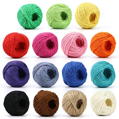 HULISEN Colorful Jute Twine, 15 Rolls 2mm 3 ply Natural Jute String for Artworks, DIY Crafts, Picture Display and Embellishments, Gift Wrapping Twine
