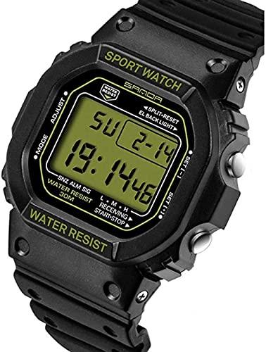 Reloj de Pulsera para Hombres Reloj Deportivo Deportivo Digital 30M Relojes Militares Digitales a Prueba de Agua Negro Big Face LED Outdoor para Hombres Peng (Color: Negro)-Verde