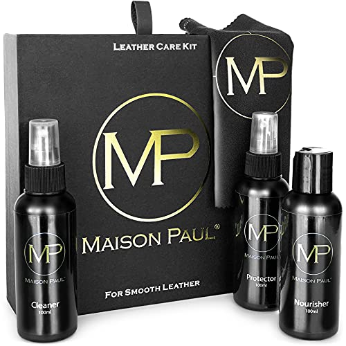 Kit de mantenimiento Maison Paul para cuero para limpiar, nutrir e impermeabilizar abrigos, chaquetas, bolsas de mano y ropas para motoristas