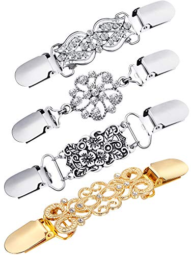 4 Pieces Vintage Sweater Shawl Clips Retro Cardigan Collar Clips Dress Shirt Brooch Clips for Women Girls Wearing, 4 Styles (Trendy Style)