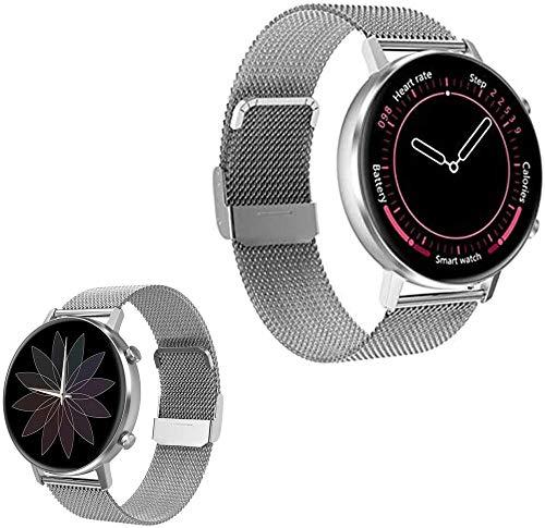 Reloj inteligente para mujer y hombre, 3,3 cm, con pantalla táctil completa, multifunción, monitor de actividad física, monitor de ritmo cardíaco, reloj inteligente (color: C)-A