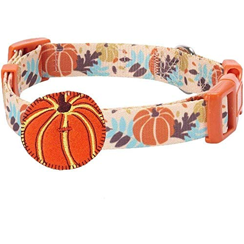 Blueberry Pet 8 Patterns Thanksgiving Fall Harvest Festival Pumpkin Designer Adjustable Dog Collar with Decoration, Large, Neck 18″-26″